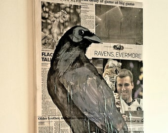 Baltimore Ravens Acrylic Painting on Collage 3
