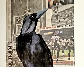 Baltimore Ravens Acrylic Painting on Collage 2