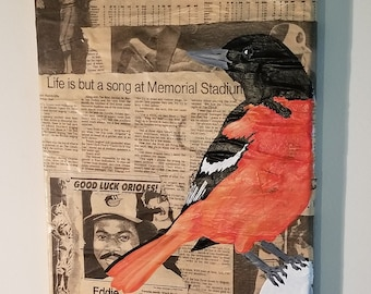 Baltimore Orioles Acrylic Painting on Collage