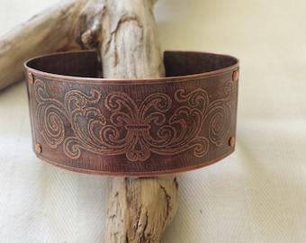 Etched Riveted Copper Cuff Handmade