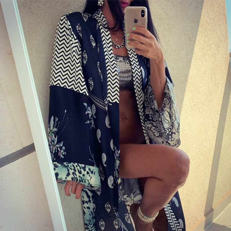Beach Wear Long Kimono Beauty Rhodes Kimono Boho Fashion Silk Style Japanese Kimono Flowers Floral Handmade Black,Bandana