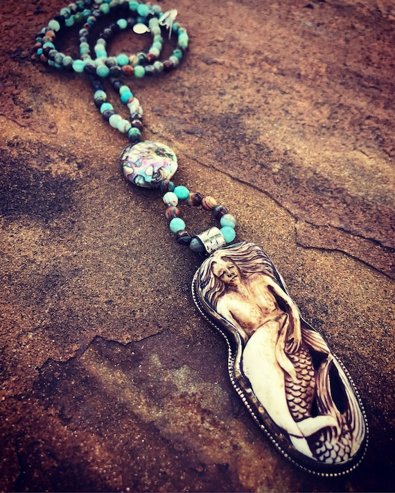 Handcarved Mermaid with Agate Long Boho Necklace