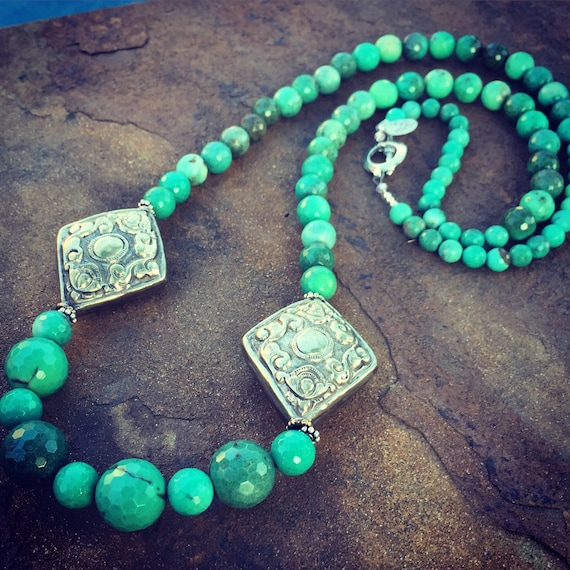 Extra Long Chrysoprase Boho Statement Necklace and Earrings Set