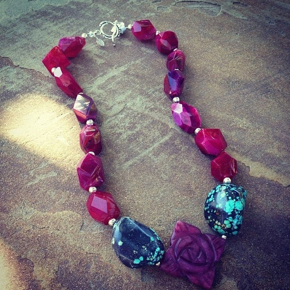 Cranberry Agate With Genuine Turquoise Nuggets Statement Necklace