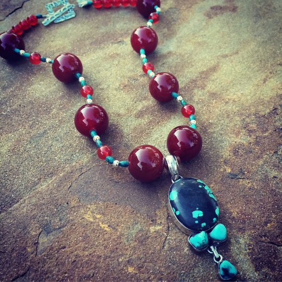 Carnelian and Genuine Turquoise Boho Statement Necklace and Earring Set