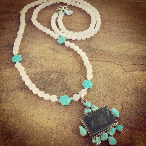 Long Rose Quartz with Turquoise and Serpentine Boho Statement Necklace and Earring Set