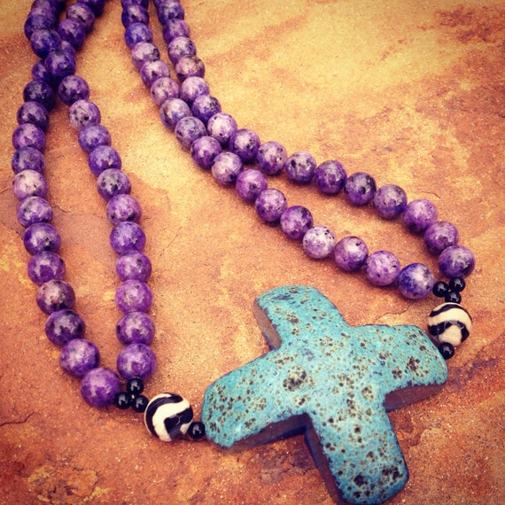 Purple Lepidolite with Druzy Agate Cross Statement Necklace and Earring Set