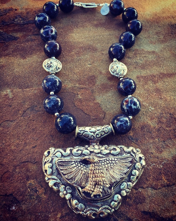 Jasper with Eagle Boho Statement Necklace and Earring Set