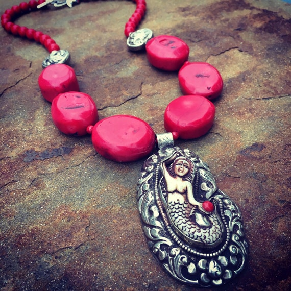 Boho Coral with Huge Nepalese Mermaid Statement Necklace and Earring Set