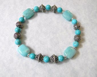 Amazonite, Turquoise and Bali Silver Bead Stretch Bracelet