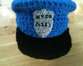 crochet POLICE hat blue or pink 942614e2dba