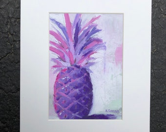 """Purple and pink pineapple art print, fine art print of original oil painting by Kimberly Schulz, 5x7"""" matted to 8x10"""""""
