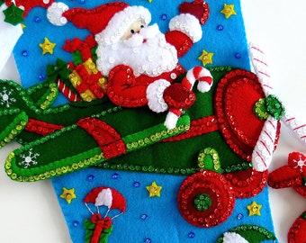 Christmas Stockings, Bucilla StockingS, Finished Bucilla, Personalized Stockings, Men's Children's Kids Stockings Airplane Santa Complete