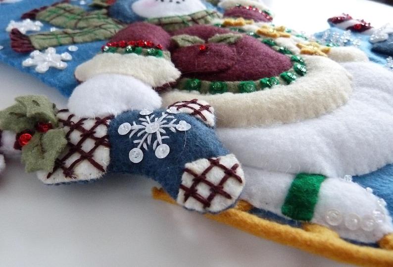 Finished Bucilla Stocking Christmas Holiday Personalized Felt Stocking Skating Snowman