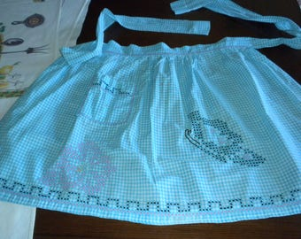 vintage half apron aqua white woven gingham black pink cross stitch embroidery trim teapot turquoise