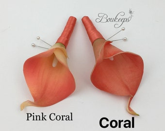 CHOOSE Calla Lily and Ribbon Color - Coral Calla Lily Boutonniere, Real Touch Coral Calla Lily Boutonniere, Coral Boutonniere, Wedding
