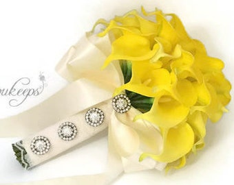 Choose Calla Lily & Ribbon Color - Yellow Calla Lily Bridal Bouquet, Yellow Bouquet, Yellow Real Touch Bouquet, Bling, Rhinestones, Lace
