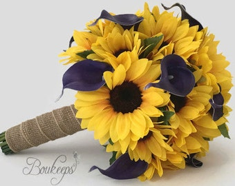 Choose Calla Lily & Ribbon Color - Sunflower Bouquet, Sunflower and Calla Lily Bouquet, Sunflower Bridal Bouquet, Sunflower Wedding, Purple