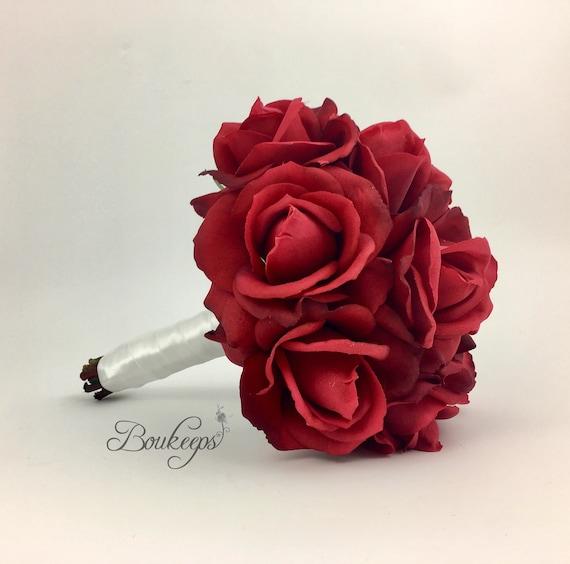 Wahlen Sie Bandfarbe Real Touch Rote Rosen Brautstrauss Etsy