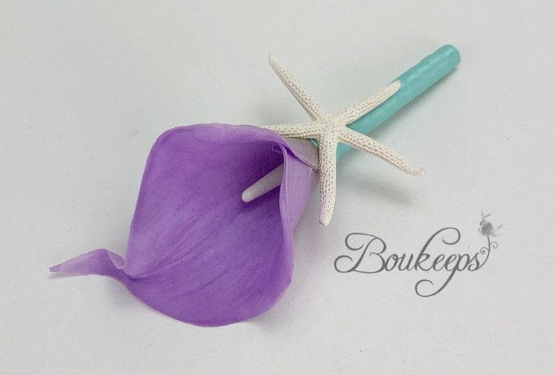 Beach Wedding,Destination Wedding CHOOSE RIBBON COLOR Bright Lavender Calla Lily Boutonniere Starfish Starfish Boutonniere