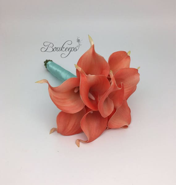 CHOOSE RIBBON COLOR Coral Calla Lily Bouquet Real Touch
