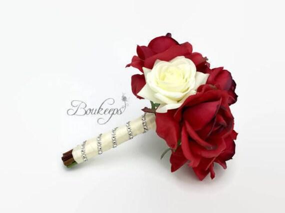 Choisir Couleur Du Ruban Bouquet De Mariage Rouge Et Blanc Ivoire Rose Bouquet Bouquet De Demoiselle D Honneur Rouge Real Touch Bouquet