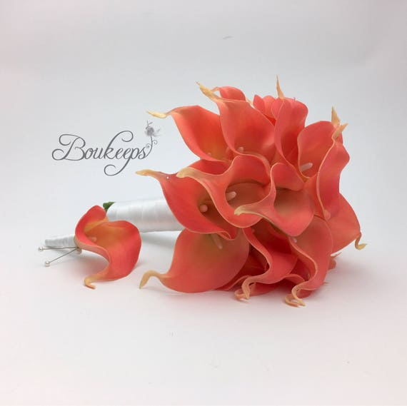 CHOOSE RIBBON COLOR Pink Coral Calla Lily Bouquet And