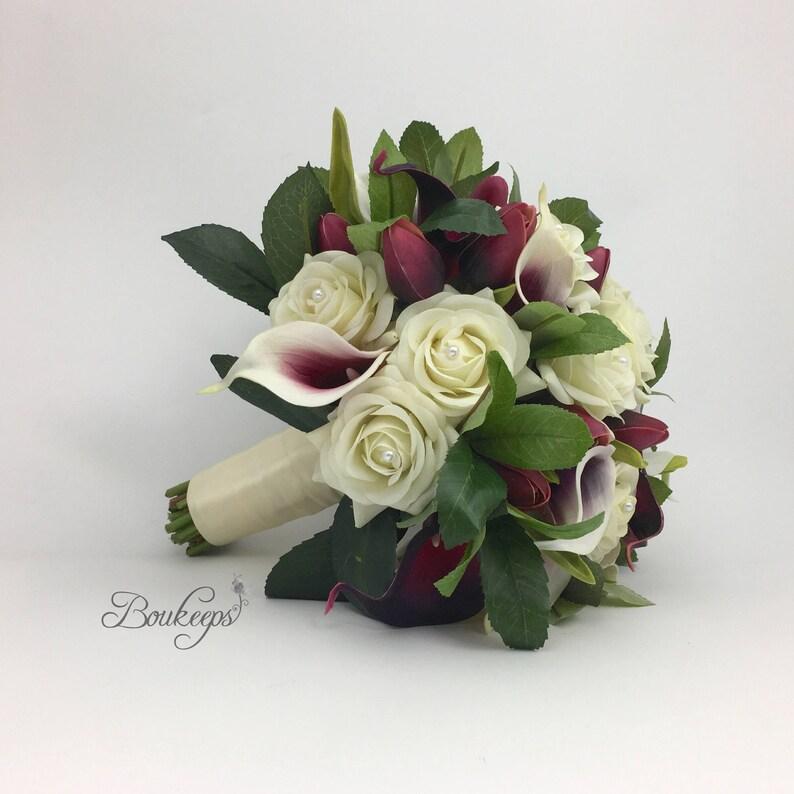 Purple Wedding Bouquet CHOOSE RIBBON COLOR Greenery Bridal Bouquet White Ivory Rose Purple Calla Lily Tulip Bridal Bouquet Pearls