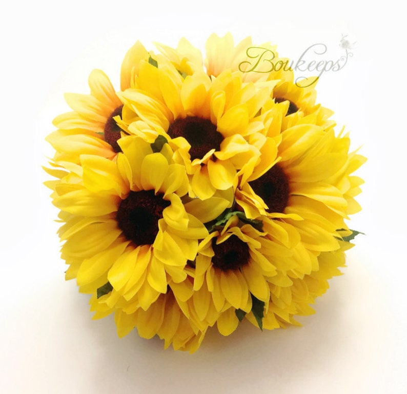 Sunflower Bouquet Sunflower Bridal Bouquet Sunflower Wedding Sunflower Boutonniere Sunflower Bridesmaid Bouquet /& Boutonniere with Twine