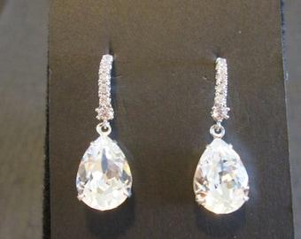 78b4a902a Clear Swarovski Crystal Drop Earrings/ Bridal Jewelry/ Bridesmaid Jewelry/ Crystal  Earrings/ Swarovski Earrings/Wedding Jewelry/ Bridal