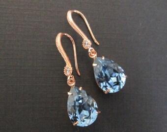 Denim Blue Rose Gold Bridesmaid Jewelry Set/Swarovski Crystal/Bridesmaid Set/Swarovski Blue Crystal Earrings/Denim Blue Bridal Jewelry