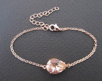 Rose Gold Swarovski Crystal Bracelet/Rose Gold Bracelet/Rose Gold Bridesmaid Jewelry/Vintage Rose Bracelet/ Vintage Rose Bridesmaid Bracelet