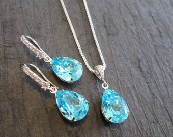 Turquoise Bridesmaid Jewelry Set/Swarovski Turquoise Crystal Earrings and Necklace/Bridesmaid Set/Turquoise Blue Swarovski Crystal  Earrings