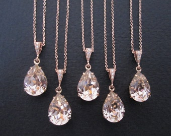 SET OF 3,4, 5, 6 -Rose Gold Bridesmaid Necklaces Blush Bridesmaid Jewelry