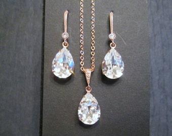 NEW Rose Gold Bridesmaid Jewelry Set/Swarovski Clear Crystal/Bridesmaid Set/Crystal Necklace/Swarovski Crystal Earrings/Bridal Jewelry