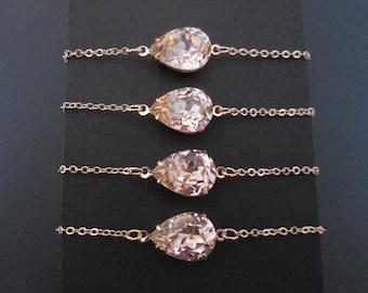 Bridesmaids Bracelets, Set of 2, Set of 3, Set of 4, Set of 6 Rose Gold Bracelets, Swarovski Bracelets, Blush Bridesmaid Bracelets