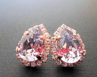 Smoky Mauve Bridesmaid Earrings/Rose Gold Swarovski Bridesmaid Earrings/Crystal Halo Earrings/Swarovski Crystal Stud Earrings/Halo Earrings