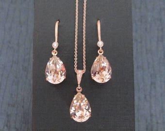 NEW Rose Gold Bridesmaid Jewelry SetSwarovski Vintage Rose