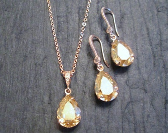 NEW Champagne and Rose Gold Bridesmaid Jewelry Set/Swarovski Crystal/Bridesmaid Set/Swarovski Golden Shadow Earrings/Bridal Jewelry