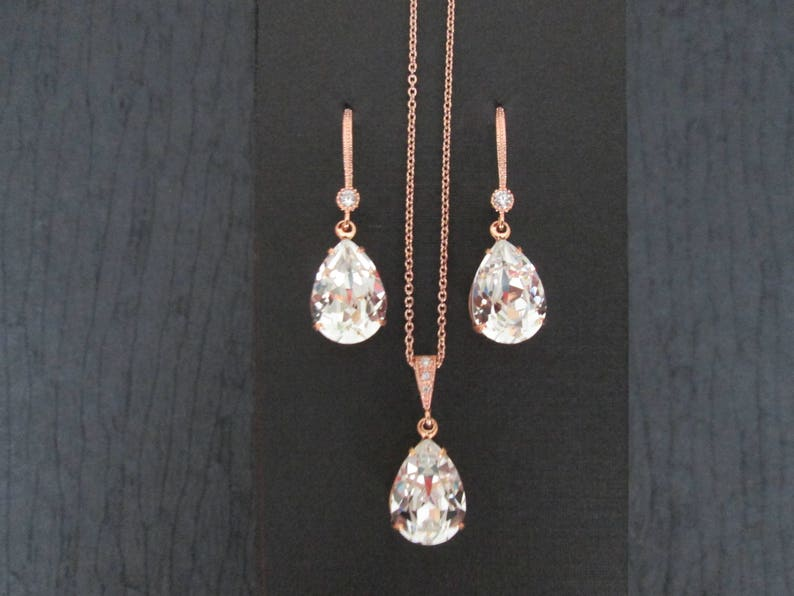2b9c7aaf6daa8 NEW Rose Gold Bridesmaid Jewelry Set Swarovski Vintage Rose