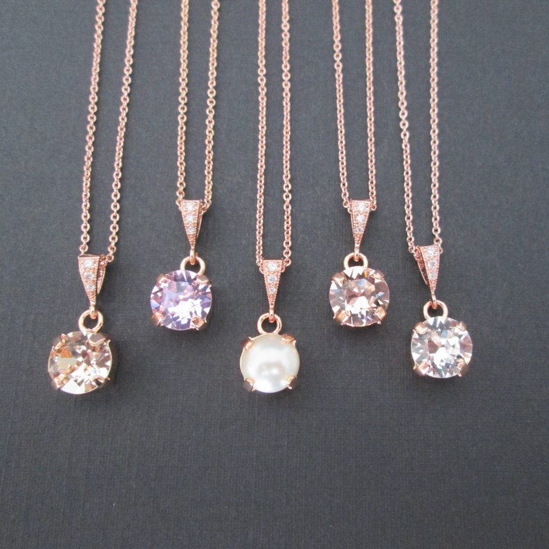 57b3f5c46 SET of 12345 Rose Gold Bridesmaid Necklaces/Rose Gold | Etsy