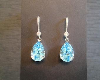 Aqua Bridesmaid Jewelry Set/Swarovski Aqua Crystal Jewelry Set/Blue Crystal Bridesmaid Set/Blue Crystal Necklace/ Crystal Earrings/Bridal