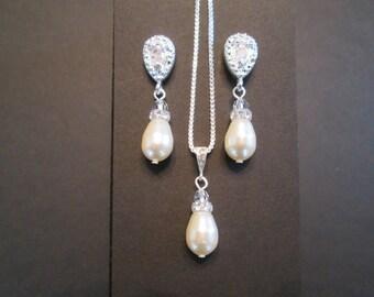 Cream Pearl Bridesmaid Jewelry Set/Swarovski Earrings/Bridal Set/Pearl Necklace/Swarovski Pearl Earrings/White Pearl/Pink Pearl Earrings