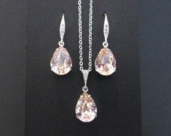 Vintage Rose Bridesmaid Jewelry Set/Swarovski Light Pink Crystal/Bridesmaid Set/Crystal Necklace/Swarovski Crystal Pink Earrings/Blush Pink