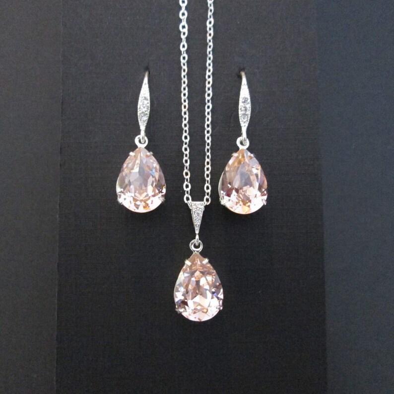 Vintage Rose Bridesmaid Jewelry Set/Swarovski Light Pink image 0