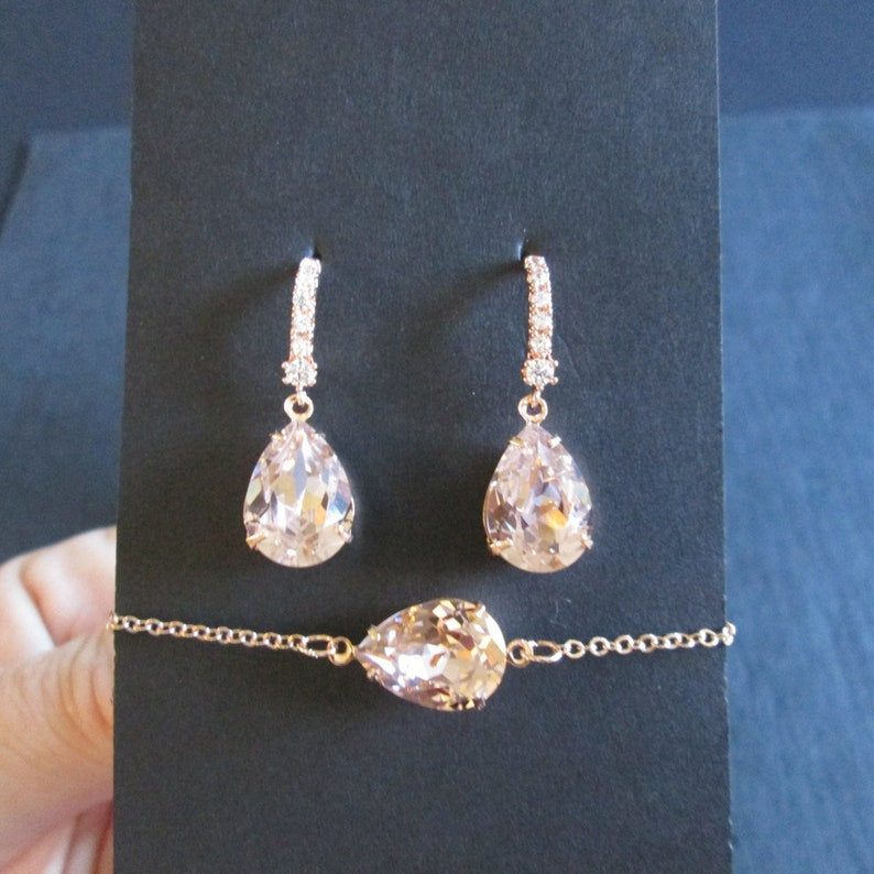 86836cd7f2429 NEW Rose Gold Bridesmaid Jewelry Set Swarovski Vintage