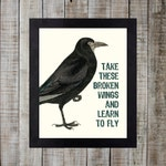 Vintage Styled Beatles Lyric Print - Blackbird 'take these broken wings and learn to fly'