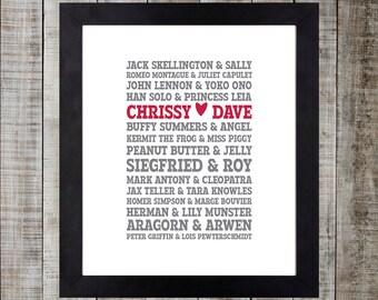 Custom Couples Typographic Print - 11x14