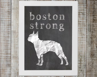 Boston Terrier 'boston strong' Chalkboard Print