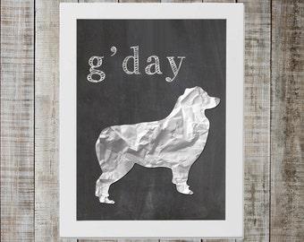 Australian Shepherd 'g'day' Chalkboard Print